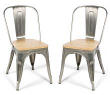 Pair of 2 Steel With Wood Seat Industrial Tolix Style Dining Chairs 1/2 Price Deal